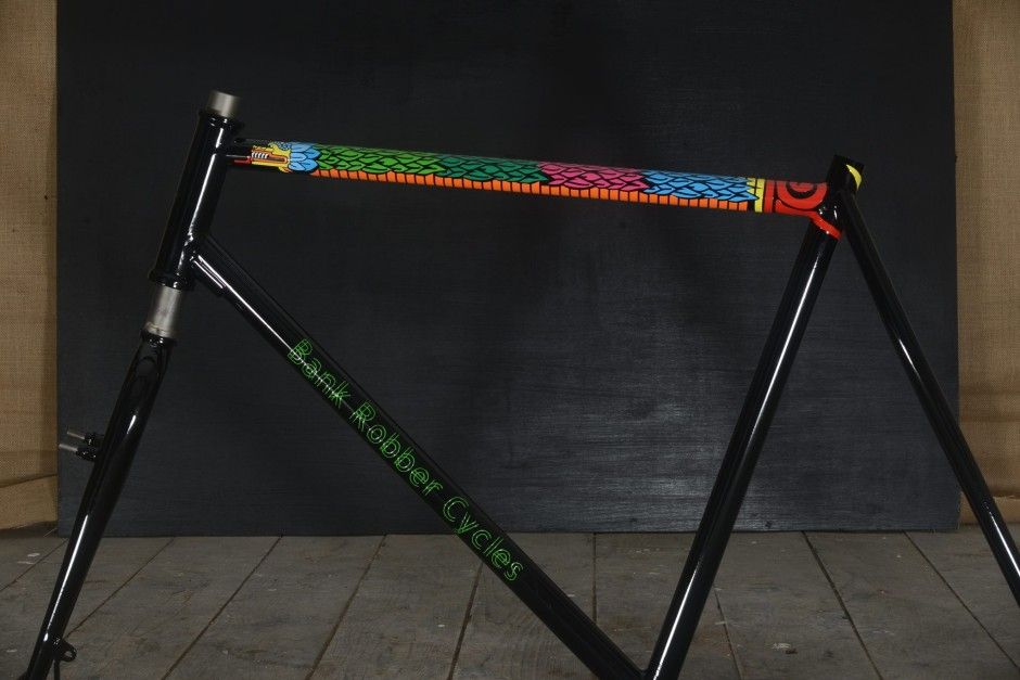 the custom paint job on this bank robber cycles hardcourt bike polo frame is seriously beautiful its so amazing would have a hard time playing on this